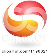 Abstract Letter S Yin Yang In Red And Orange