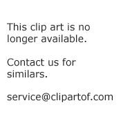 Cartoon Of A Bikini Clad Woman Waving By A Chair And Umbrella On A Beach Royalty Free Vector Clipart