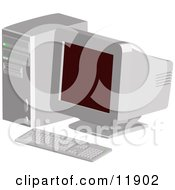 Out Of Date Desktop Computer With A CRT Screen Clipart Illustration by AtStockIllustration