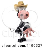 Clipart Of A 3d Cow Mascot Wearing A Cowboy Hat Royalty Free CGI Illustration