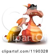 Clipart Of A 3d Red Traveling Dragon With Sunglasses And A Suitcase 2 Royalty Free CGI Illustration