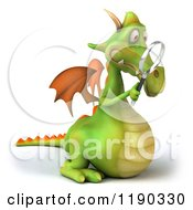 Clipart Of A 3d Green Dragon Peering Through A Magnifying Glass Royalty Free CGI Illustration