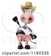 Clipart Of A 3d Cow Mascot Wearing A Cowboy Hat And Waving Royalty Free CGI Illustration