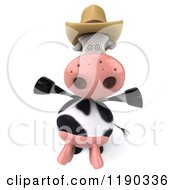 Clipart Of A 3d Cow Mascot Wearing A Cowboy Hat And Holding His Arms Open Royalty Free CGI Illustration