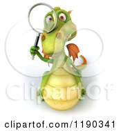 Clipart Of A 3d Green Dragon Looking Through A Magnifying Glass Royalty Free CGI Illustration
