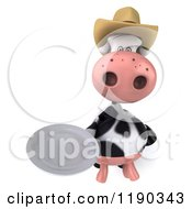 Clipart Of A 3d Cow Mascot Wearing A Cowboy Hat And Holding Out A Plate Royalty Free CGI Illustration
