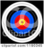 Clipart Of A Target With Colorful Rings On Black Royalty Free Illustration by oboy