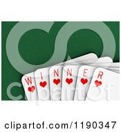 3d Winning Hand Of Heart Playing Cards Over Felt