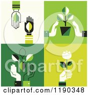 Hands With Green Leaves Plants And Flowers