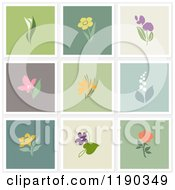 Clipart Of Beautiful Flower Designs On Different Colored Backgrounds Royalty Free Vector Illustration by elena