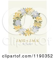 Retro Floral Wreath Wedding Design On Beige With Sample Text
