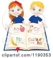 Cartoon Of Happy School Children Holding An Alphabet Book Royalty Free Vector Clipart by Pushkin