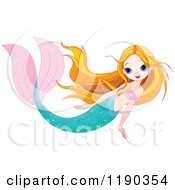 Cartoon Of A Swimming Pretty Mermaid With Long Strawberry Blond Hair Royalty Free Vector Clipart by Pushkin