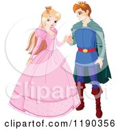 Cartoon Of A Happy Blond Princess And Handsome Prince Charming Couple Royalty Free Vector Clipart