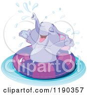 Cartoon Of A Cute Happy Elephant Swimming And Splasshing In An Inner Tube Royalty Free Vector Clipart