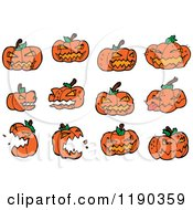 Cartoon Of A Jack O Lanterns Royalty Free Vector Illustration by lineartestpilot