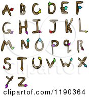 Cartoon Of An Alphabet Of Paintbrushes Royalty Free Vector Illustration