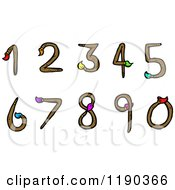 Cartoon Of A Set Of Numbers Made From Paintbrushes Royalty Free Vector Illustration