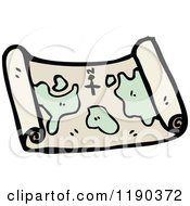 Cartoon Of A Scrolled Map Royalty Free Vector Illustration