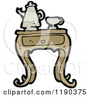 Cartoon Of An Old Fashioned Coffee Set Royalty Free Vector Illustration by lineartestpilot