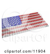 Red Blue And White People Forming An American Flag Clipart Illustration by AtStockIllustration