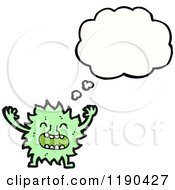 Cartoon Of A Small Furry Monster Thinking Royalty Free Vector Illustration