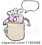 Cartoon Of A Dunking Donut Speaking Royalty Free Vector Illustration