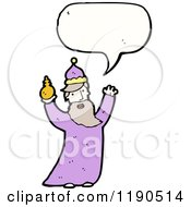 Cartoon Of A Wiseman Speaking Royalty Free Vector Illustration
