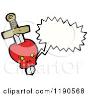 Cartoon Of A Red Skull With A Dagger Speaking Royalty Free Vector Illustration by lineartestpilot