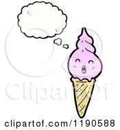 Cartoon Of An Ice Cream Cone Thinking Royalty Free Vector Illustration