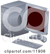 Personal Desktop Computer PC With A Flat Screen Clipart Illustration by AtStockIllustration