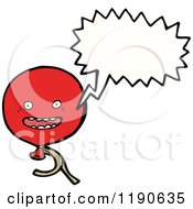 Cartoon Of A Red Balloon Speaking Royalty Free Vector Illustration by lineartestpilot