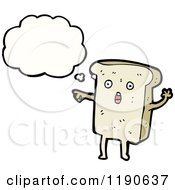 Cartoon Of A Slice Of Bread Thinking Royalty Free Vector Illustration