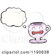 Cartoon Of A Teacup Thinking Royalty Free Vector Illustration
