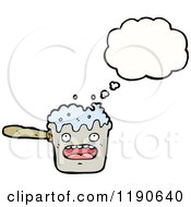 Cartoon Of A Boiling Pot Thinking Royalty Free Vector Illustration
