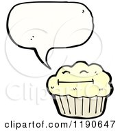 Cartoon Of A Muffin Speaking Royalty Free Vector Illustration by lineartestpilot