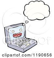 Cartoon Of A Computer Thinking Royalty Free Vector Illustration by lineartestpilot