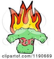 Cartoon Of A Flaming Christmas Sweater Royalty Free Vector Illustration