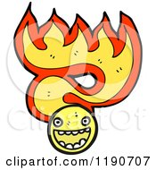 Cartoon Of A Face In Flames Royalty Free Vector Illustration