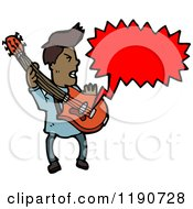 Cartoon Of A Black Man Playing The Guitar Speaking Royalty Free Vector Illustration by lineartestpilot