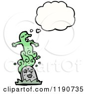 Cartoon Of A Ghost Rising From The Grave Royalty Free Vector Illustration by lineartestpilot