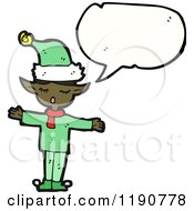 Cartoon Of An African American Elf Speaking Royalty Free Vector Illustration by lineartestpilot