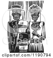Happy Skeleton Wedding Couple Standing Arm In Arm Black And White Woodcut