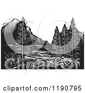Clipart Of A River Mountain And Evergreen Landscape Black And White Woodcut Royalty Free Vector Illustration