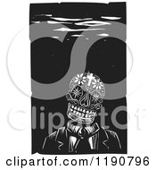 Floral And Cross Skull Underwater Black And White Woodcut