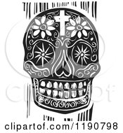 Clipart Of A Death Skull With Flowers And A Cross Black And White Woodcut Royalty Free Vector Illustration