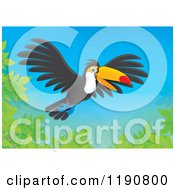 Cartoon Of A Happy Toucan Flying Over Branches Royalty Free Clipart by Alex Bannykh