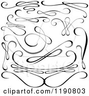 Clipart Of Black And White Calligraphic Designs 2 Royalty Free Vector Illustration