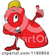 Cartoon Of A Happy Red Bottle Mascot Holding A Thumb Up Royalty Free Vector Clipart
