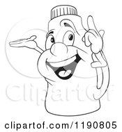 Cartoon Of A Happy Outlined Bottle Mascot Presenting And Pointing Up Royalty Free Vector Clipart